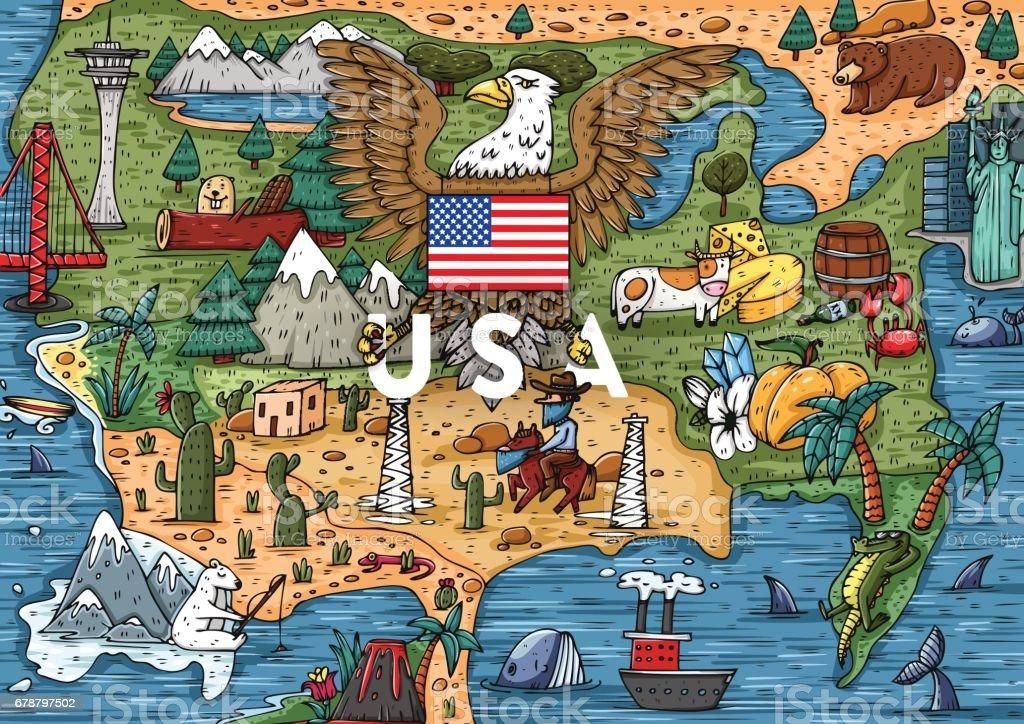Funny Hand drawn Cartoon USA map with most popular places of interest vector art illustration