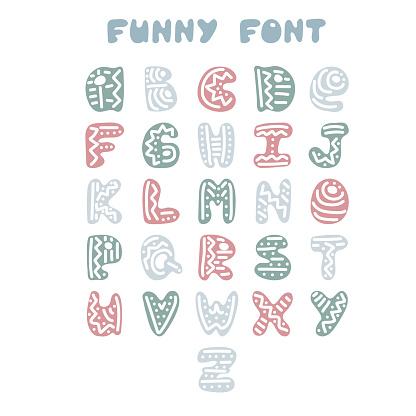 Funny hand-drawn English alphabet.