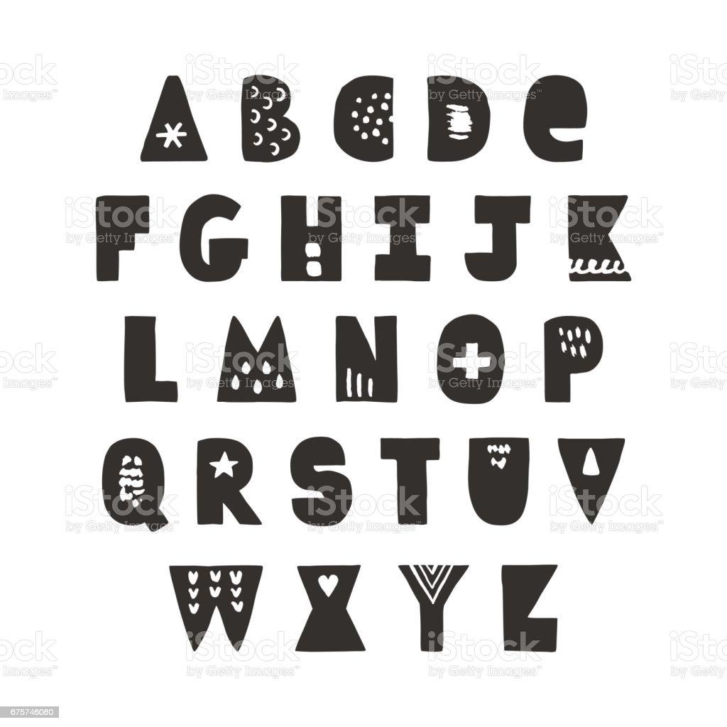 Funny Handwritten Black Hipster Ink Bold Alphabet Stock Illustration