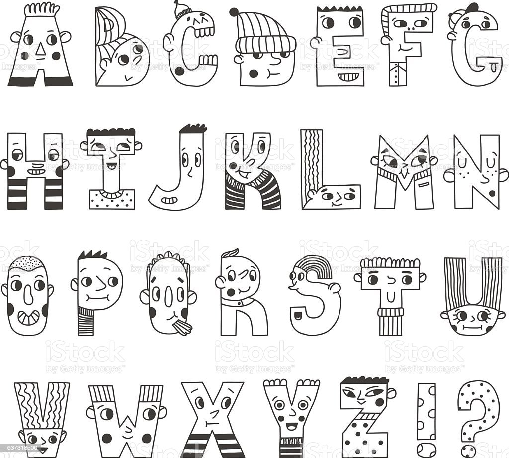 Funny handwritten cartoon alphabet. Cute characters letters. vector art illustration