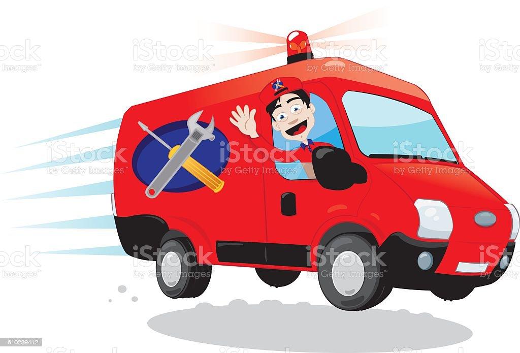 Funny Handyman driving a van - express assistance concept vector art illustration