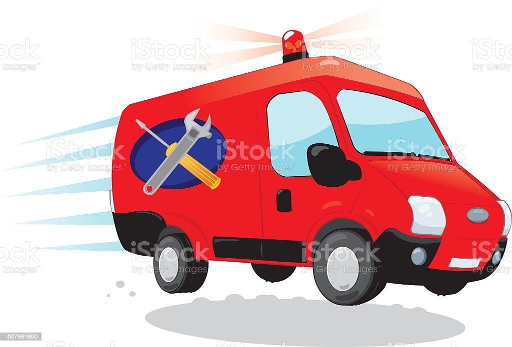 Funny Handyman van - express assistance concept vector art illustration