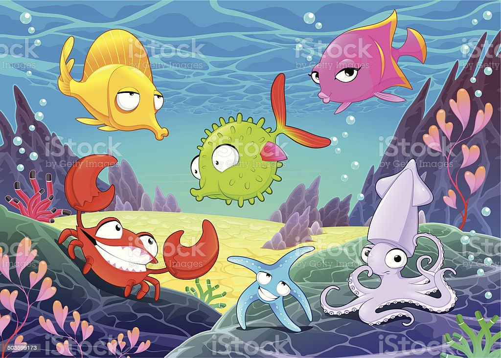 Funny happy animals under the sea. royalty-free funny happy animals under the sea stock vector art & more images of animal