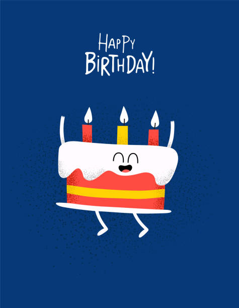 Funny Happy birthday card cake with candels The cake for birthday greeting card. Vector graphics. birthday stock illustrations