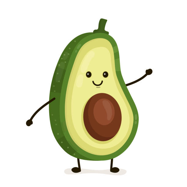 Funny happy cute happy smiling avocado Funny happy cute happy smiling avocado. Vector flat cartoon character illustration icon. Isolated on white background. Fruit avocado concept avocado patterns stock illustrations