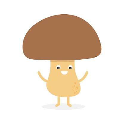 Funny happy cute smiling mushroom porcini.
