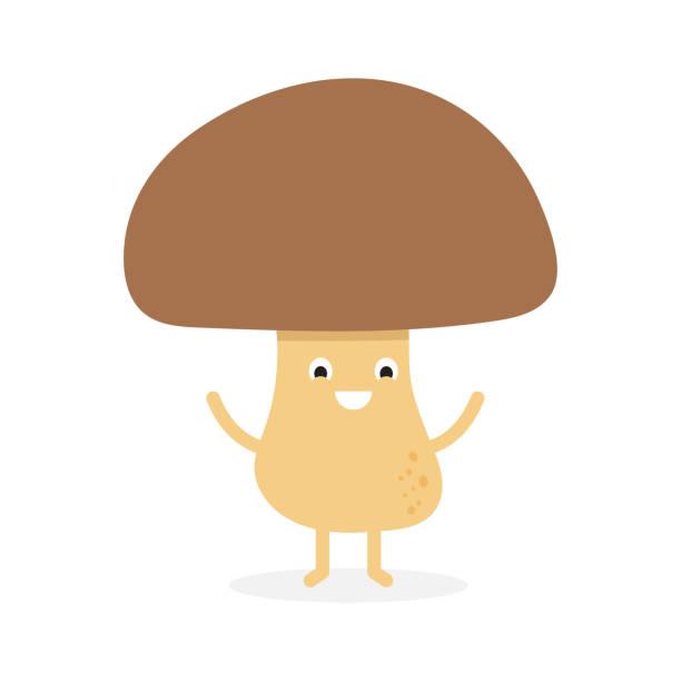 재미 행복 귀여운 웃는 버섯 포 치 니. - 버섯 stock illustrations