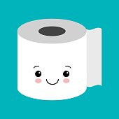 Funny happy cute smiling toilet paper. Vector flat cartoon character illustration icon. Isolated on blue background. Kawaii style