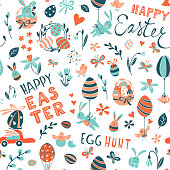 Funny Happy Easter seamless pattern background greeting card with rabbit, bunny, chicks and flowers, basket, easter eggs hunt . Vector Illustration doodle kids style design.
