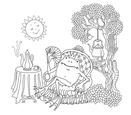 Funny happy fairy tale frog in arm-chair drinking coffee at the table. Linear black and white doodle sketch. Tee-shirt print, adults coloring book page, poster, street café menu cover