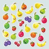Funny happy fruits. Vector illustration.
