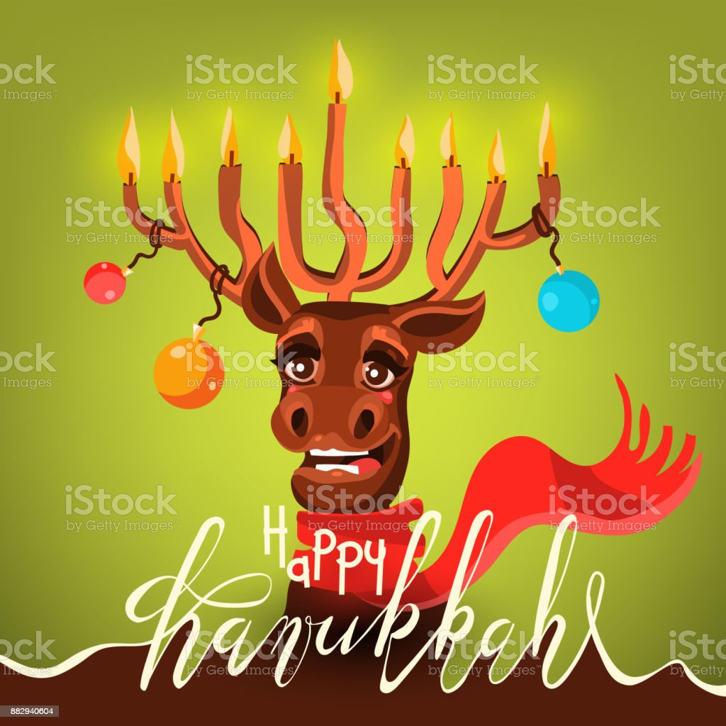 Funny Happy Hanukkah Card Cartoon Cute And Happy Santas With Antler