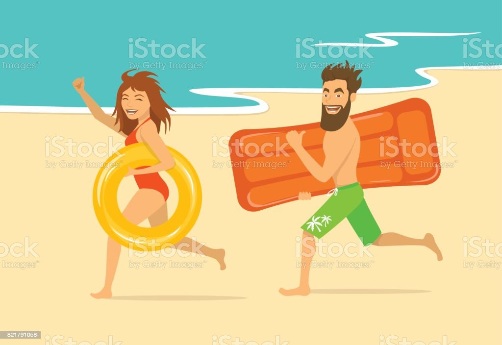 funny happy man and woman running on a beach with inflatable swimming mattress and ring. vector art illustration