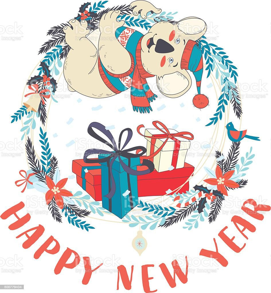 Divertente Felice Anno Nuovo Card Con Koala Con Un Maglione
