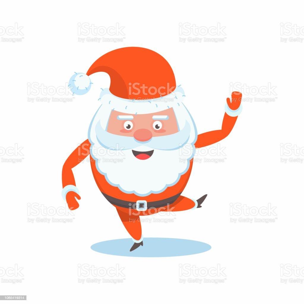 Weihnachtskarten Comic.Lustige Happy Santa Claus Charakter Weihnachtskarten Stock Vektor