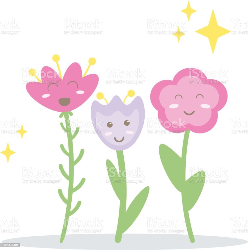 funny happy vector flowers three cartoon smiley blushed characters