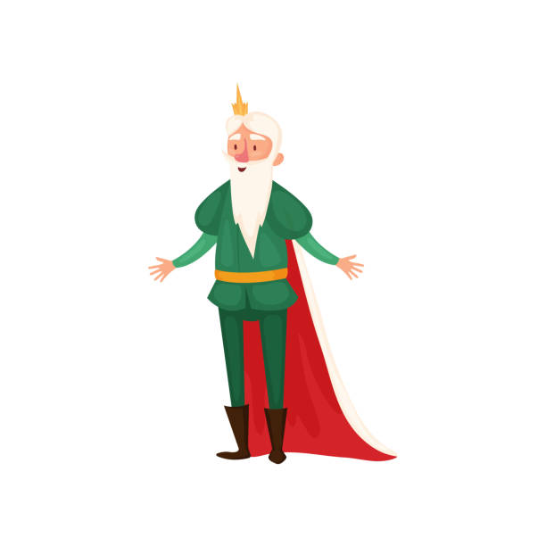 illustrations, cliparts, dessins animés et icônes de roi blanc drôle et heureux de barbe avec des vêtements verts - sceptre
