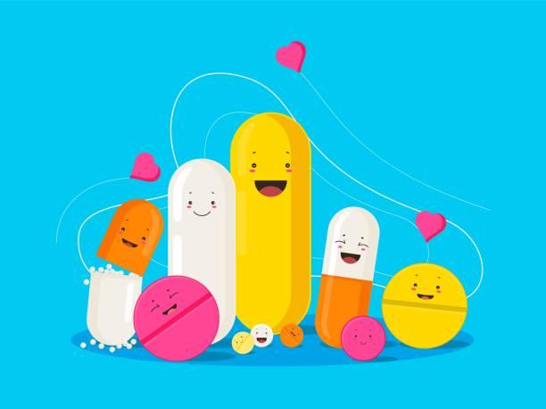 Funny healing pills. Smiling cartoon pills and capsules with hearts. Funny healing pills. Smiling cartoon pills and capsules with hearts laughing painkillers antibiotics funny coronovirus treatment color vector health. aspirin stock illustrations