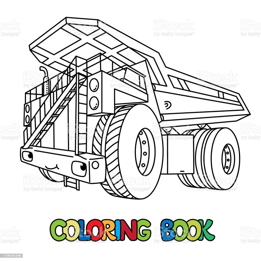 Funny Heavy Dump Truck Car With Eyes Coloring Book Stock Illustration Download Image Now Istock