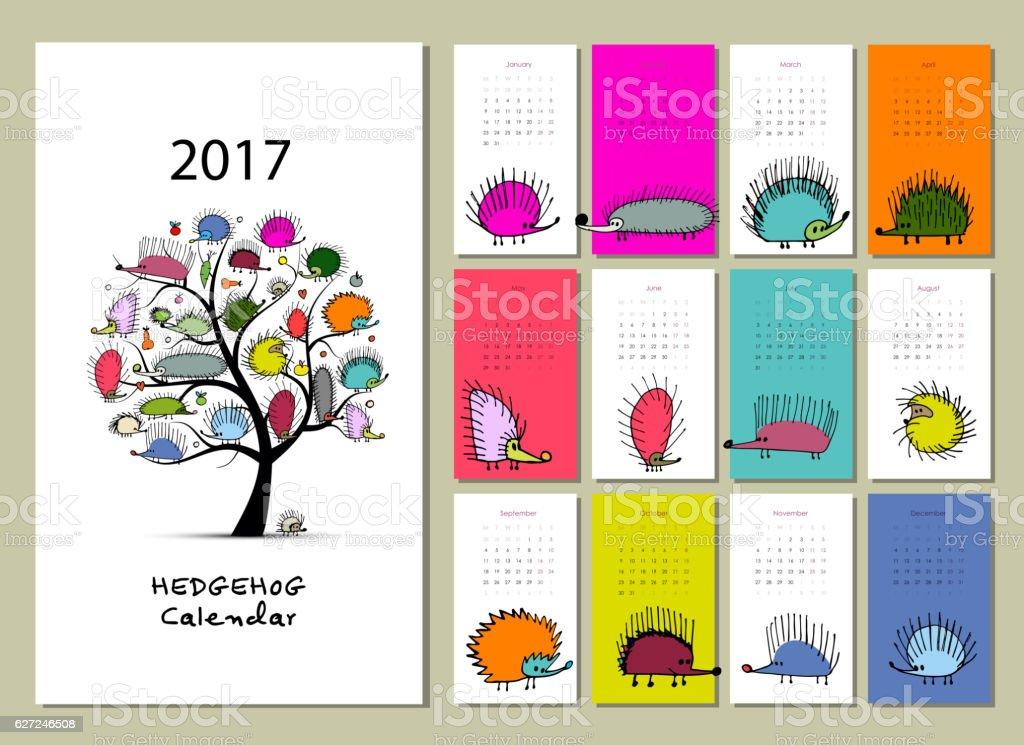Funny hedgehogs, calendar 2017 design vector art illustration