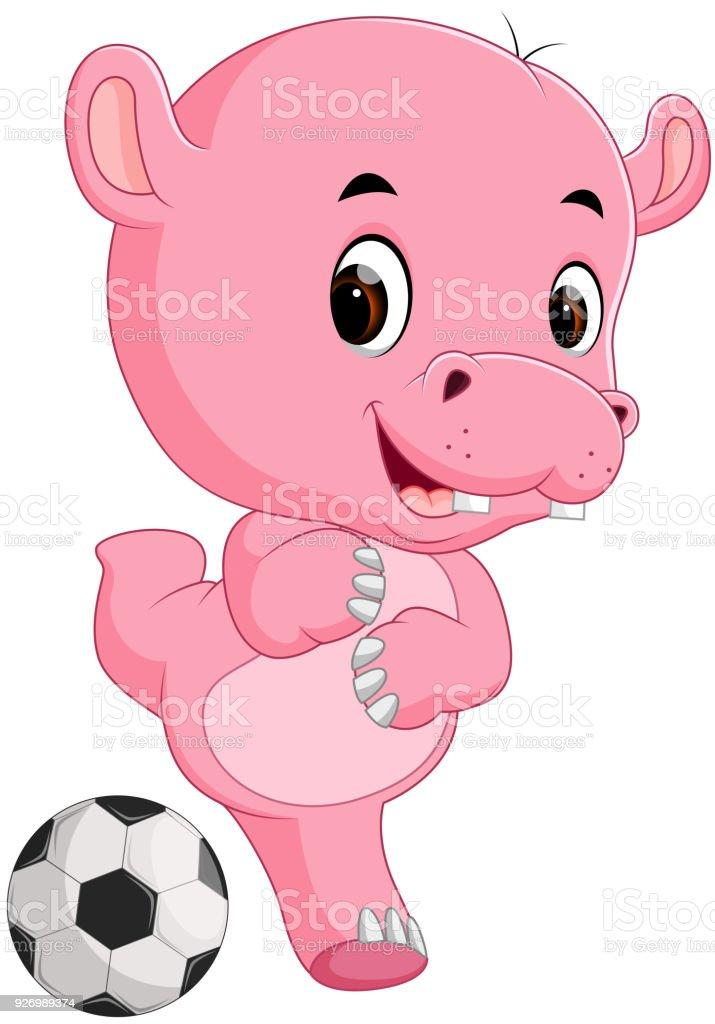 desenho de hipopótamo engraçado com bola - ilustração de arte em vetor
