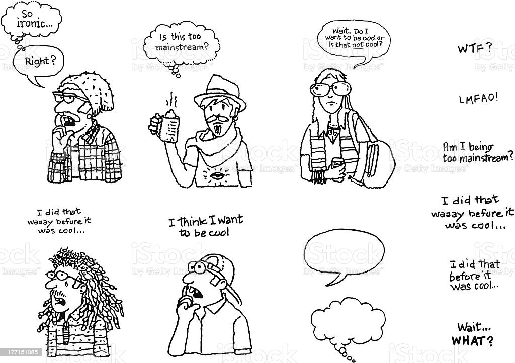 Funny Hipster Doodles with Word Bubbles vector art illustration