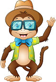 Funny hipster monkey waving
