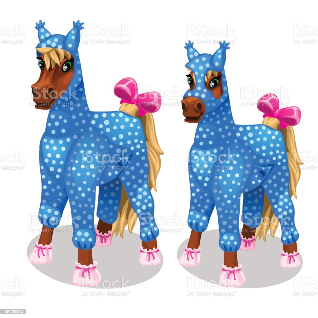 Funny horse in the blue jumpsuit. Vetor isolated vector art illustration