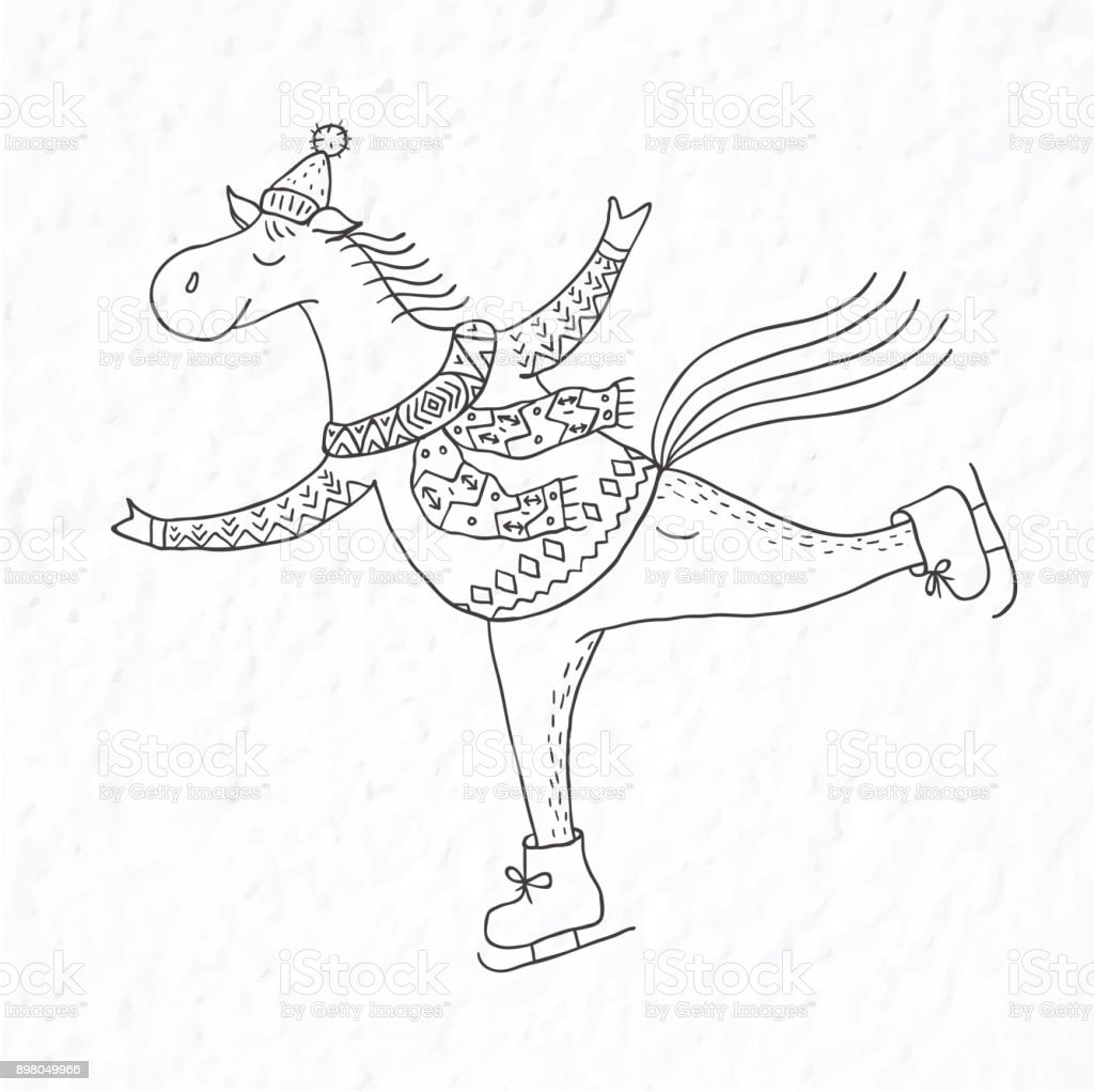 Funny Horse On The Skates Nursery Art Stock Illustration Download Image Now Istock