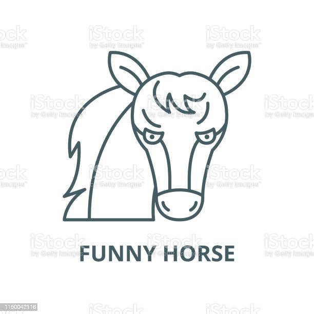 Funny horse vector line icon linear concept outline sign symbol vector id1150042116?b=1&k=6&m=1150042116&s=612x612&h=5gwd7eug4dbs0uslzny9xvrfqyhcyfasygmkkfpngce=