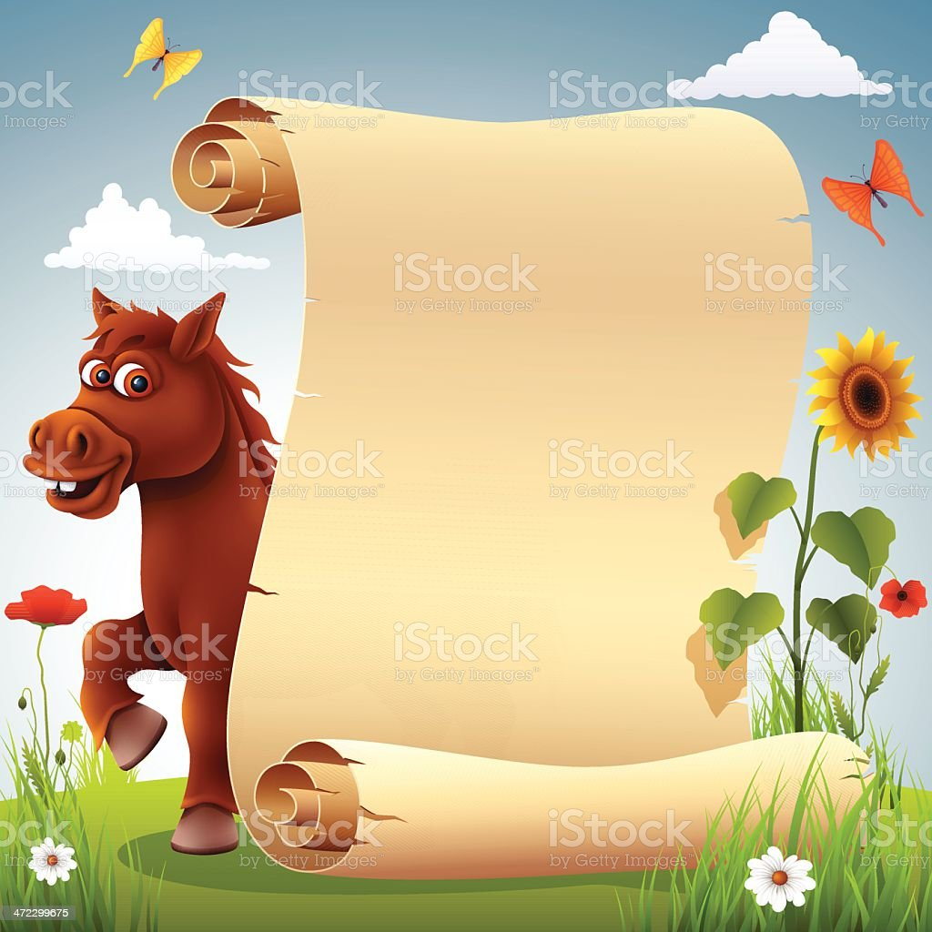 Funny Horse with Scroll royalty-free stock vector art