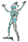 Funny human singing icon, clip art, line art, blue