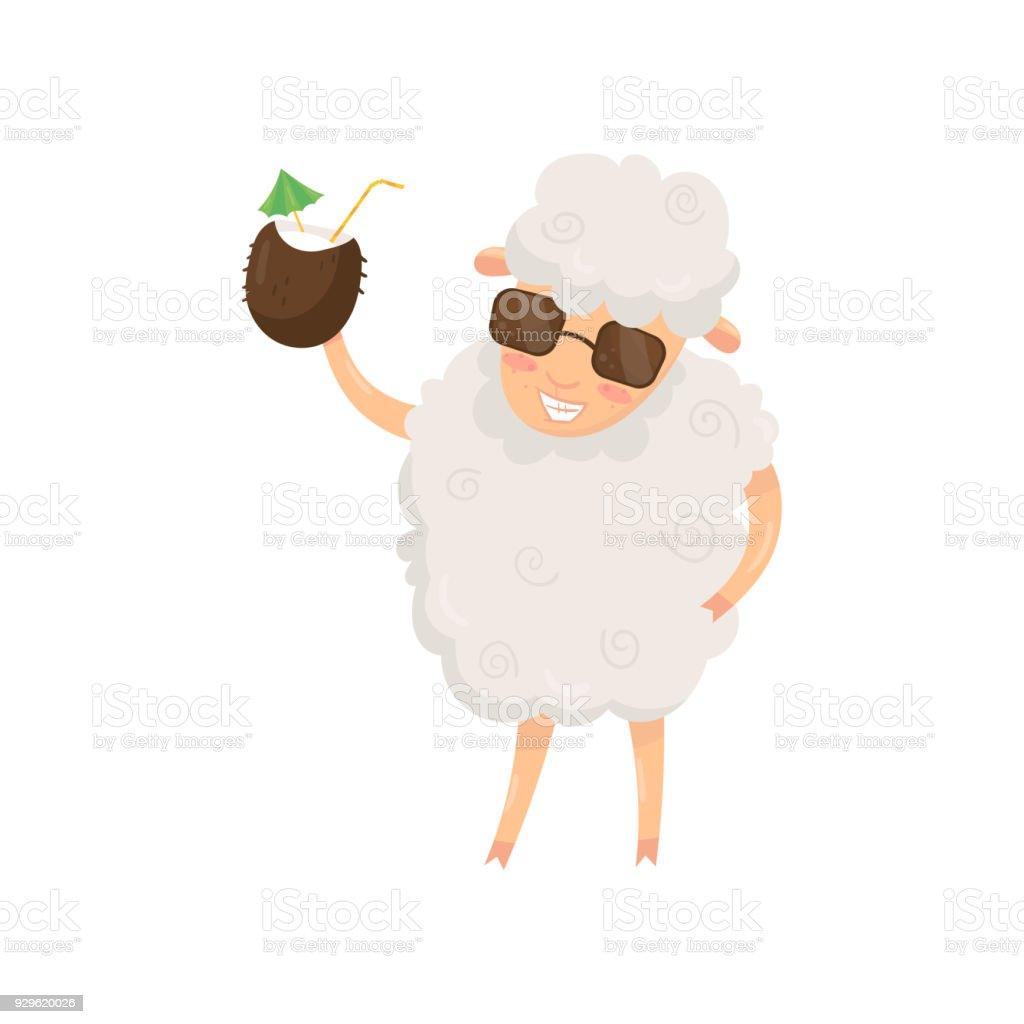 1cbc7a7eebc98 Engraçado ovelhas humanizadas segurando verão coquetel em casca de coco.  Personagem de desenho animado animal