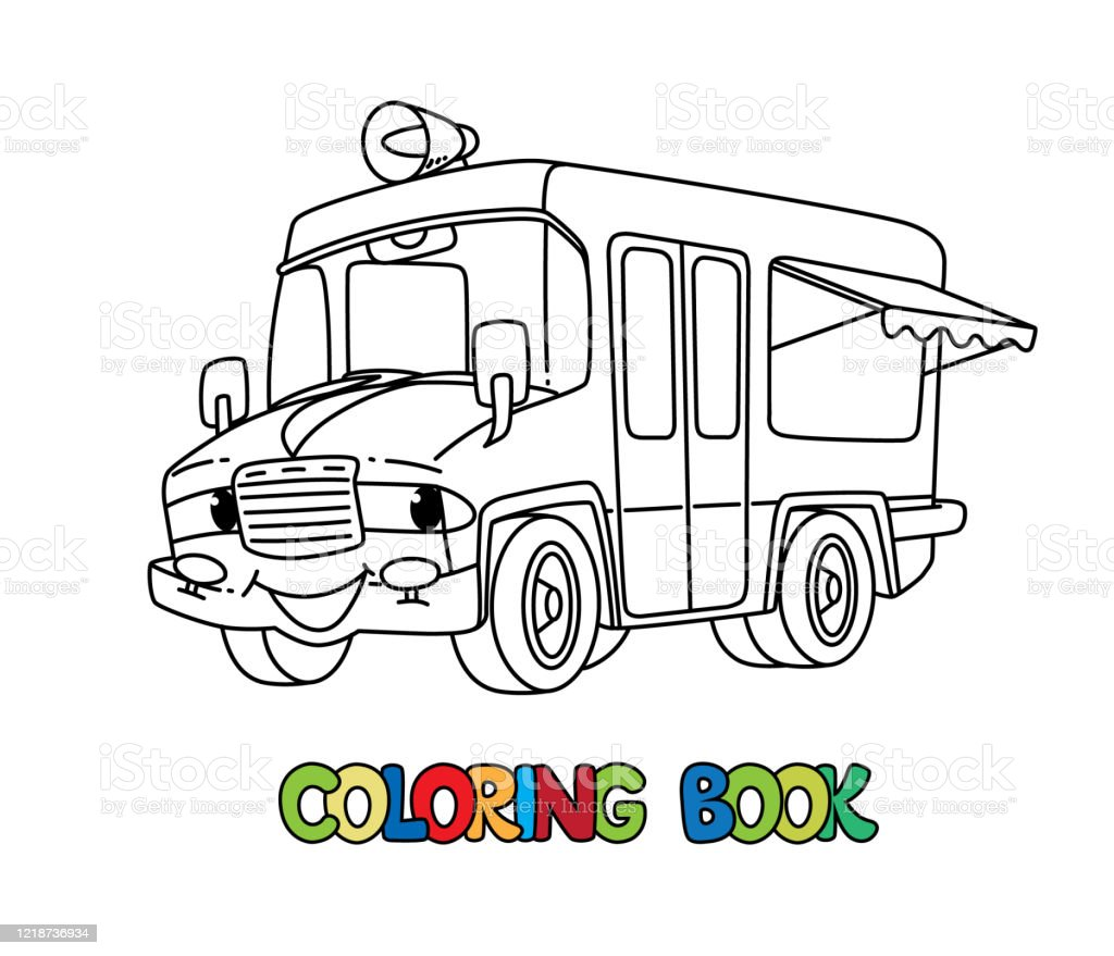 Funny Ice Cream Truck With Eyes Coloring Book Stock Illustration - Download  Image Now - IStock