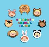 Funny icon children in animal costumes. Vectoir Illustration