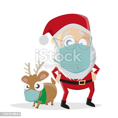istock funny illustration of cartoon santa claus with reindeer and face mask 1281519544