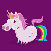 funny illustration of rainbow shitting unicorn
