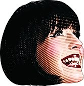 Funny Illustration Of Woman's Face Laughing