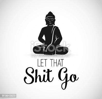 istock Funny Illustration with Buddha meditating vector 915643620