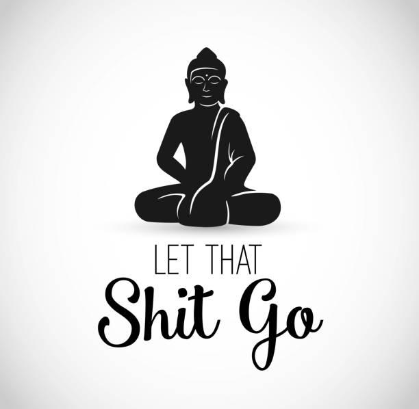 stockillustraties, clipart, cartoons en iconen met grappig illustratie met boeddha mediteren vector - buddha