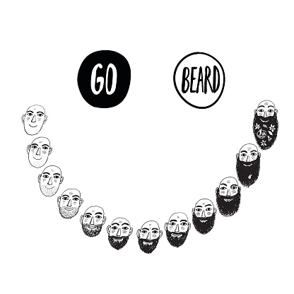 Funny illustratoin with growing beard