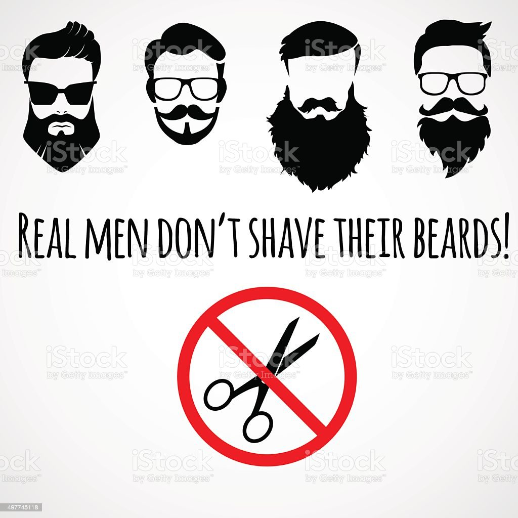 Funny, inspirational quotation about beard. vector art illustration