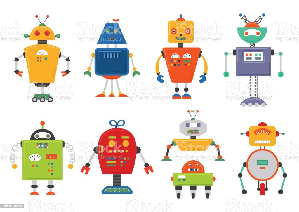 Funny Isolated robot set. Future robots isolated on white. Flat vector illustration set vector art illustration