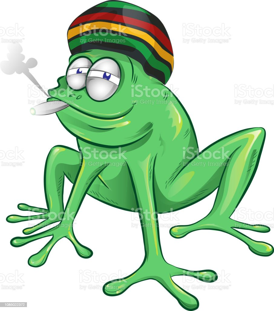 funny jamaican frog cartoon vector art illustration