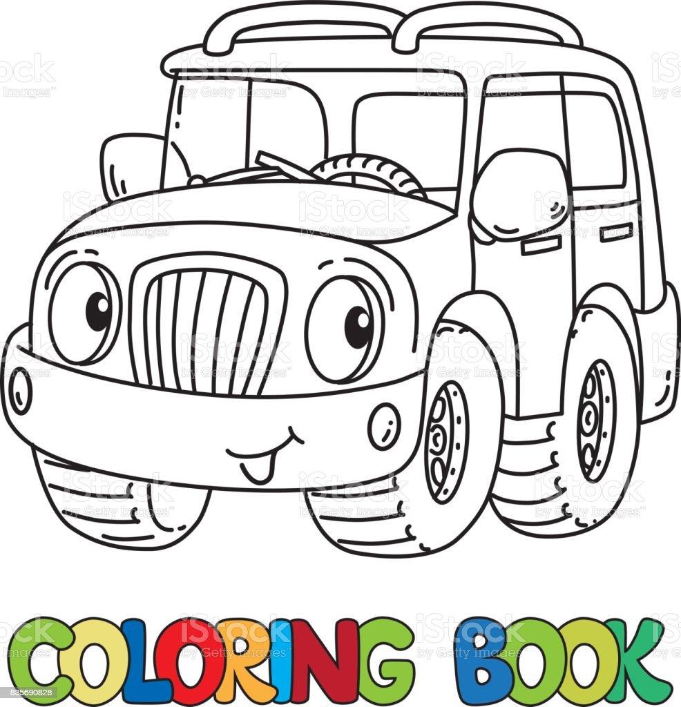 Jeep Drôle Ou Outroader Avec Des Yeux Coloriages Vecteurs