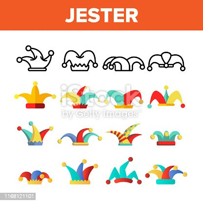 Funny Jester Hat Linear Vector Icons Set. Jester, Clown Caps with Bells Thin Line Contour Symbols Pack. Harlequin Costume Pictograms Collection. Circus, Medieval Carnival Flat Illustrations