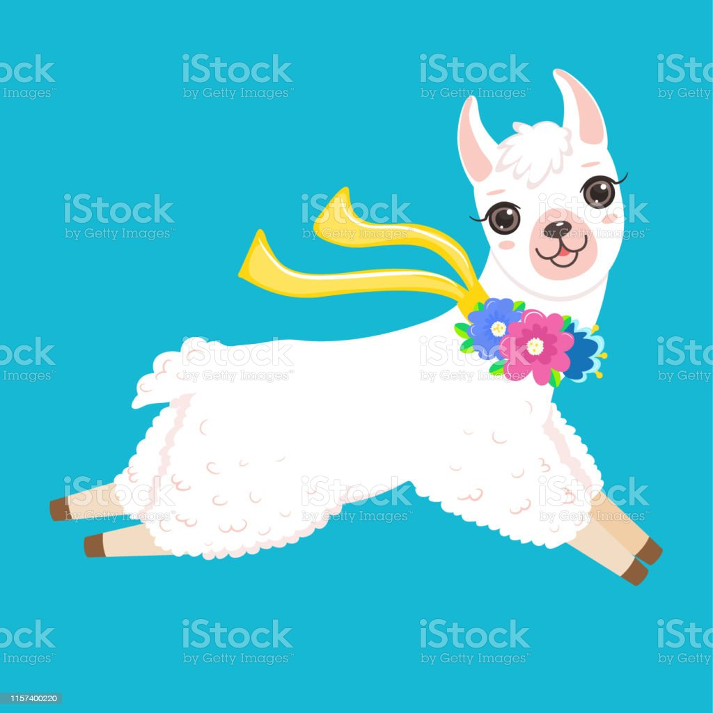 Funny jumping white llama with colorful flowers Isolated on white...