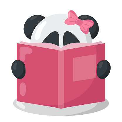 Funny kawaii panda with book in flat design with shadows.