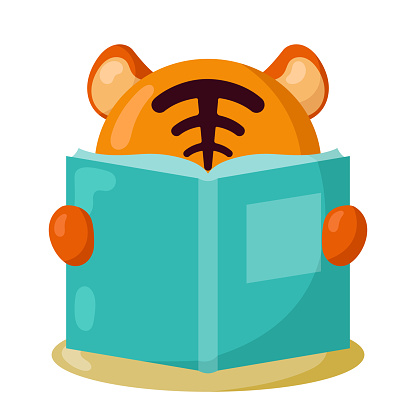 Funny kawaii tiger with book in flat design with shadows