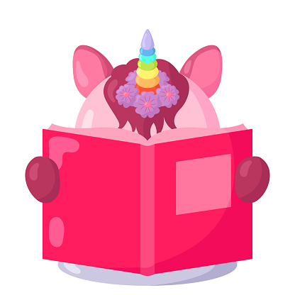 Funny kawaii unicorn with book in flat design with shadows.
